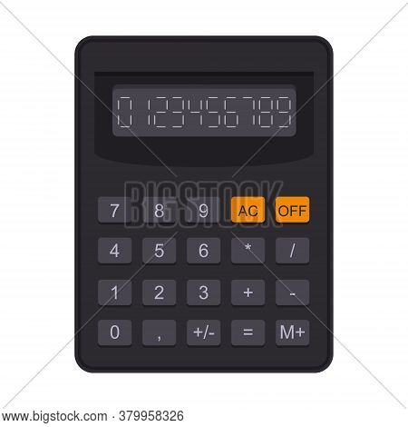 Accounting Calculator In Flat Style. Electronic Equipment For Calculation, Accounting, Mathematics.