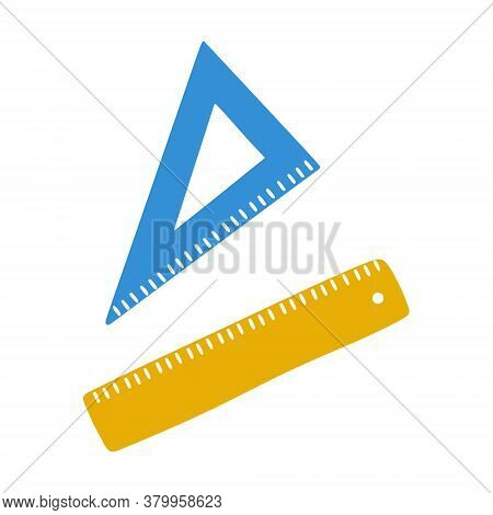 School Ruler, Triangle. Office Supplies For Measuring And Drawing Straight Lines. A Simple Drawing I