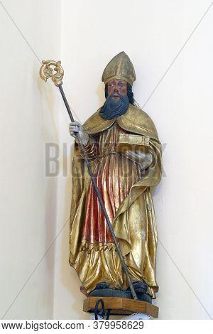VUGROVEC, CROATIA - MAY 07, 2014: St. Augustine, statue in the parish church of St. Francis Xavier in Vugrovec, Croatia