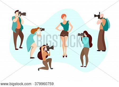Set Of Various Photographers Holding Photo Camera And Photographing. Creative Profession Or Occupati