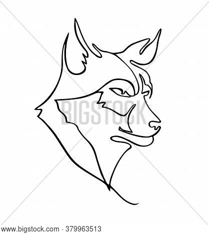 One Line Drawing Of Wolf Head For Hunter Club Logo Identity. Wolves Mascot Concept For National Zoo