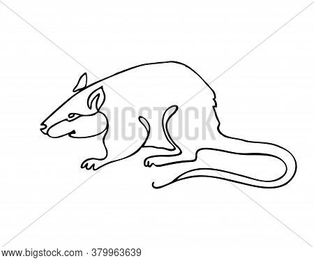 Mouse One Line Drawing. One Continuous Line Drawing Of Rat For Company Logo Identity. Abstract Minim