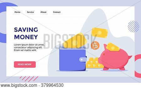 Saving Money Put Money In Wallet Piggy Bank Campaign For Web Website Home Homepage Landing Page Temp