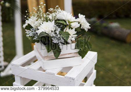 Wedding Decoration Ceremony. Wedding Banquet Decoration In Tender Color.