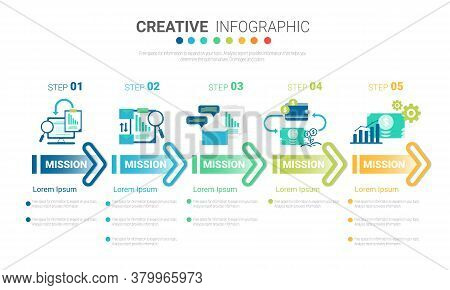 Infographic Template With Numbers 6 Option Can Be Used For Workflow Layout, Diagram, Number Step Up