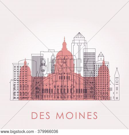 Outline Des Moines Skyline With Landmarks. Vector Illustration. Business Travel And Tourism Concept