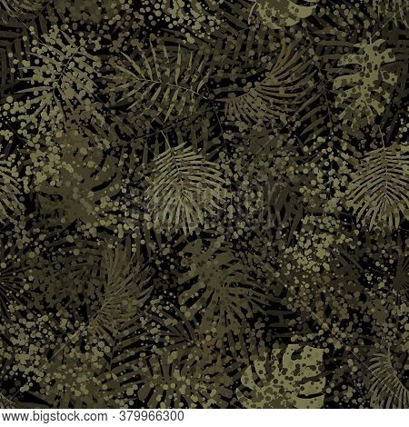 Summer Camouflage Hawaiian Seamless Pattern Monstera Tropical Plants Leaves