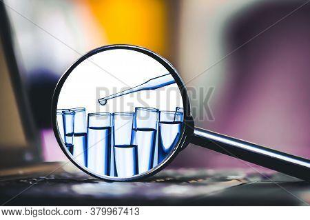 Transparent Test Tube. Coronavirus Background. Virus Vaccine Research. Internet Information Covid-19