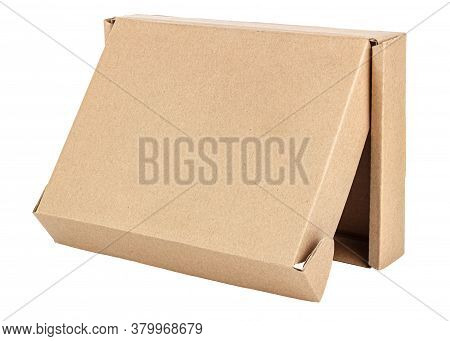 Vertical Standing On Front Side Open Flat Brown Carton Box Isolated On White Background