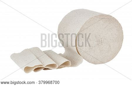 Grey Toilet Paper In Roll Isolated On White Background