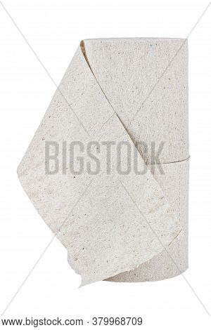 Vertical Standing Two Rolls Of Cheap Grey Toilet Paper Isolated On White Background