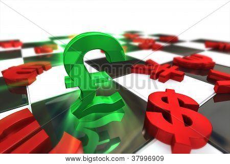 Green British Pound Sterling Symbol