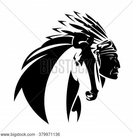 Native American Tribal Chief Wearing Feathered Headdress Nad Wild Mustang Horse Head - Black And Whi