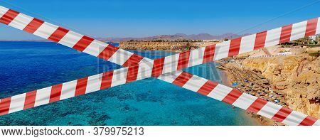 Protective Tape On Background  View Of The Coastline In Sharm El Sheikh