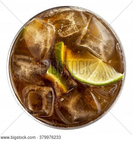 Top View Of Glass Of Cuba Libre Cocktail With Brown Rum, Lemon Juice, Coke And Ice Cubes, Decorated
