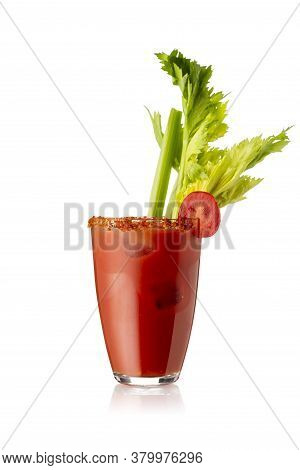 Bloody Mary Cocktail With Vodka, Lemon And Tomato Juice, Tabasco Sauce And Ice Cubes Decorated With