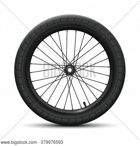 Black Front Wheel Bicycle Bmx. Sports Tire With Universal Road Tread And Marking, Rim, Spokes, Valve