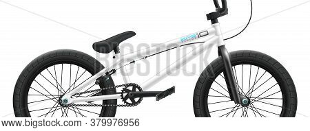 Bmx Bicycle Mockup - Right Side Close-up. Vector Illustration