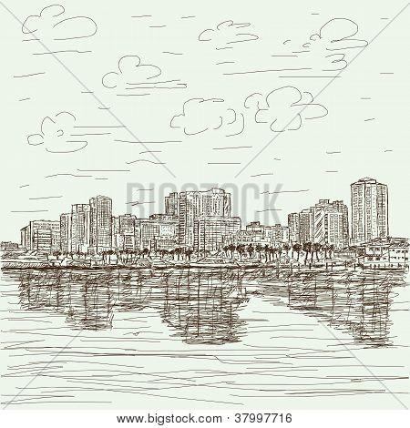hand-drawn cityscape
