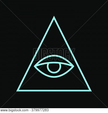 All Seeing Eye Blue Color. Sign Masons. Magic Sign
