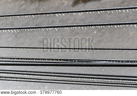 Freeze Rain Covered Outside Wires, Deep Ice
