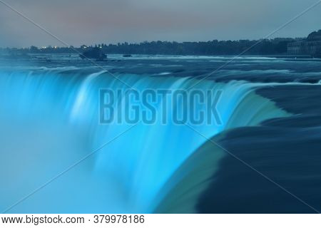 Niagara Falls at night as the famous natural landscape in Canada