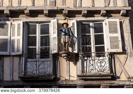 Quimper, France - September 5, 2019: This Is A Traditional Allegorical Wooden Figure On The Facade O