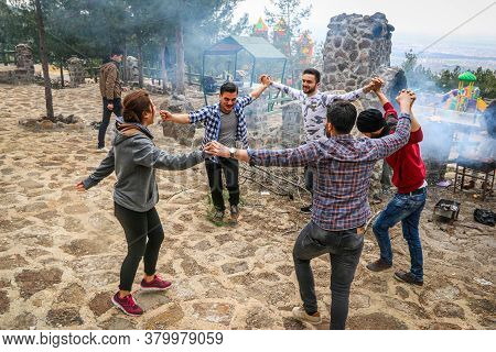 Istanbul, Turkey 10 April 2019:\na Group Of Boys Dancing Together, Creating An Atmosphere Of Pleasur