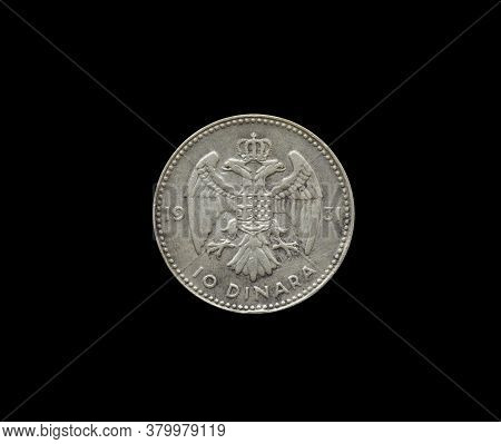 Reverse Of 20 Dinars Coin Made By Yugoslavia In 1938, That Shows Yugoslavian Coat Of Arms