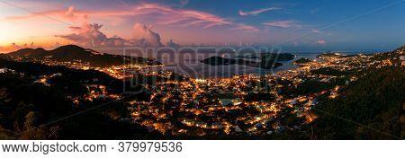 Aerial view of Virgin Islands tropic beach