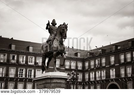 Plaza Mayor historical building in Madrid, Spain.