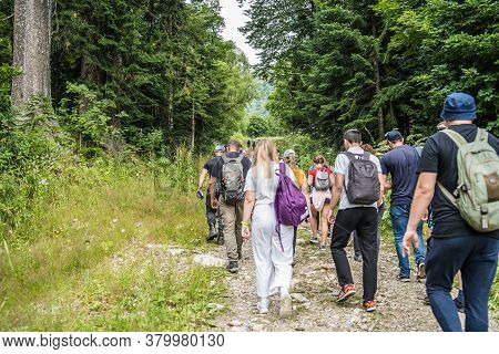 Dombay, Russia 26 July 2020: Group Of People Go Hiking In Wooded And Hilly Area. Rear View Of Touris