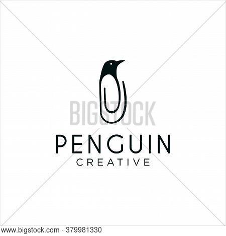 Penguin Clip Logo Idea Icon Design Stock Vector. Animal Paper Clips Logo Design Template. Monogram B