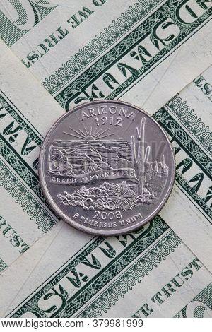 A Quarter Of Arizona On Us Dollar Bills. Symmetric Composition Of Us Dollar Bills And A Quarter Of A