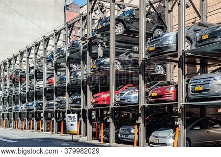 New York, Usa - September 28, 2013: An Automated Car Parking System On September 28, 2013 In Manhatt