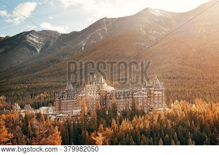 BANFF, CANADA - SEP 13: Fairmont Hotels in a sunny day with forest in Banff National Park in Canada.