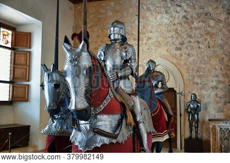 SEGOVIA, SPAIN - MAY 22, 2019: Knight armor display in Alcazar of Segovia in Spain.