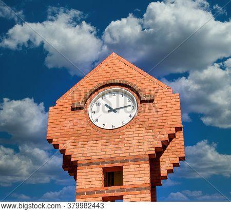clocktower intown against the blue sky