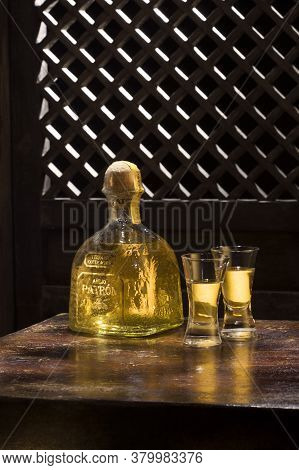 Phuket, Thailand - March 2020. Bottle Of Tequila Patron Anejo 0,7 Liter, 40%vol