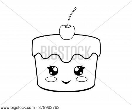 Cupcake With Cute Face And Cherry - Vector Linear Illustration For Coloring. Kawaii Cupcake With Che