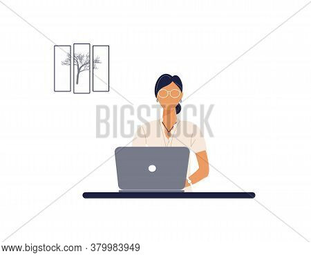 Beautiful Woman Tutor Work On Laptop.remote Work, Distance Learning Or Online Training During The Vi