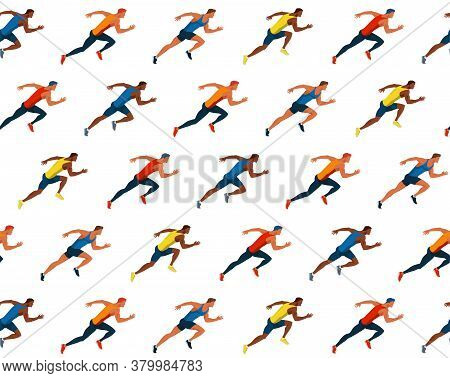 Athletes Run . Race Of Athletes. Young Men Are Jogging Vector Flat Design Seamless Pattern. Sports A