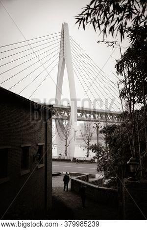Dongshuimen Bridge viewed from Xiahao Old street in Chongqing, China.