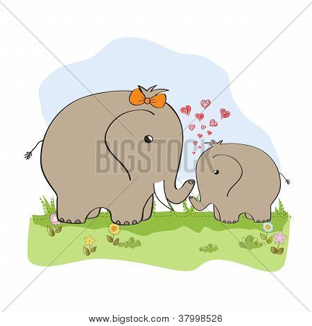 baby shower card with baby elephant and his mother poster