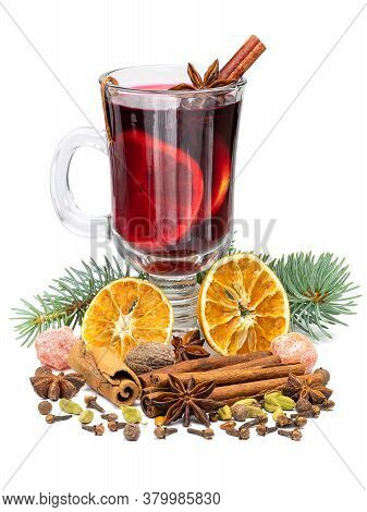 Hot Red Christmas Mulled Wine In Glass With Spices And Fruits Isolated On White Background. Full Dep