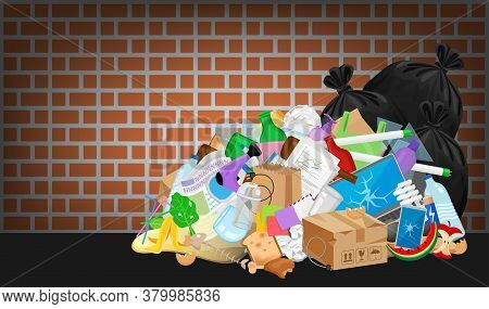 Pile Garbage Waste Plastic Many At Brick Wall, Stack Garbage Plastic And Paper Many Dump, Different