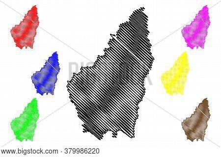 Ardeche Department (france, French Republic, Auvergne-rhone-alpes Region, Ara) Map Vector Illustrati