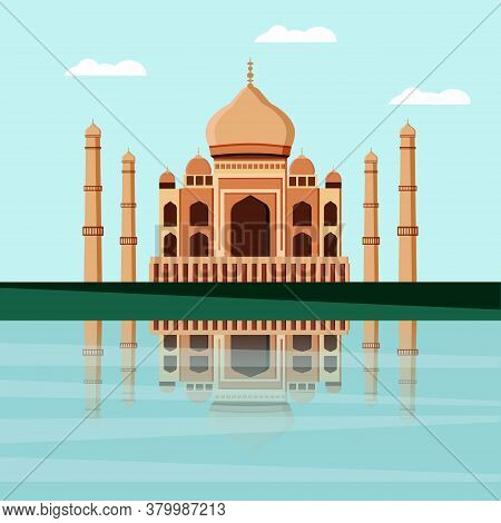 Taj Mahal. A White Marble Mosque Mausoleum Located In Agra, India, On The Banks Of The Yamuna River