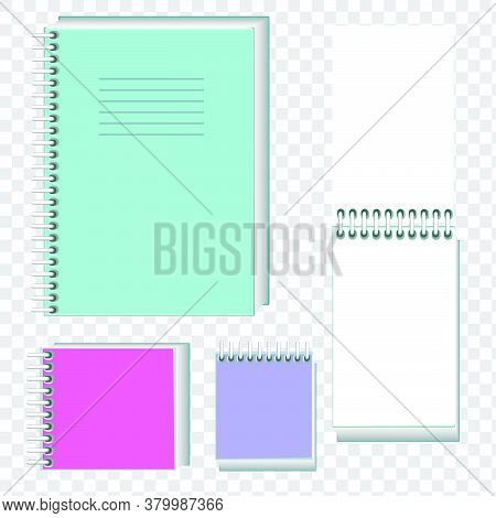 Vector Realistic Illustration Of Notebooks On A Spiral. Isolated Objects. Notebooks For Notes. Noteb