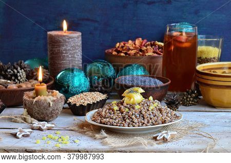 Christmas Dessert Kutia On A Modern Table. Christmas Modern Sweet Meal In Ukraine.